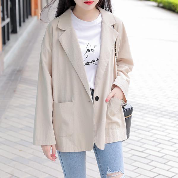 IN'SHOP韓系棉麻落肩西裝外套-共3色【KT28322】