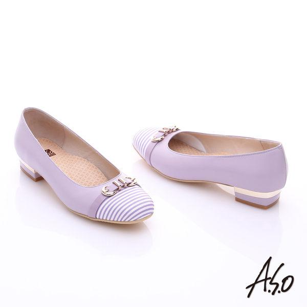 A.S.O 3E舒活寬楦 全真皮奈米條紋皮飾帶低跟鞋  淺紫
