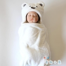 嬰兒珊瑚絨抱被抱毯新生兒包巾浴巾外出帶帽披風【奇趣小屋】