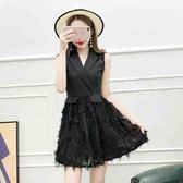 2018夏新品西裝領修身顯瘦高腰無袖連身裙