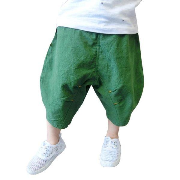 兒童夏裝棉麻闊腿褲燈籠褲男童哈倫褲寶寶褲子小童外穿短褲夏款潮【限時好康9折】