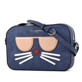 美國正品 KARL LAGERFELD 銀字貓咪皮革拉鍊相機包-單寧藍【現貨】