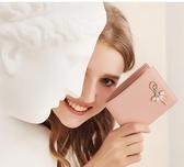 女士錢包短款真皮新款韓版粉色可愛2折頭層牛皮學生小錢夾