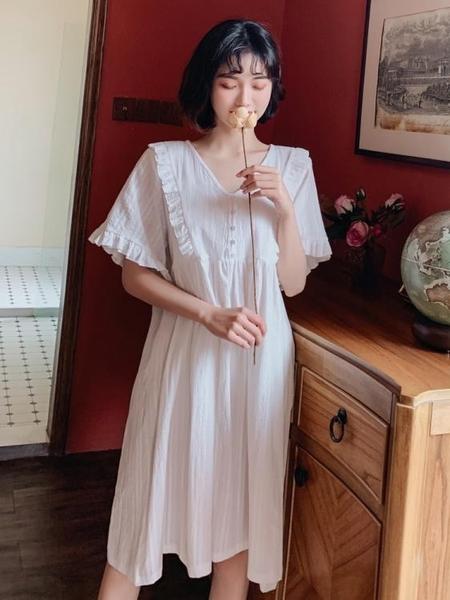 仙到沒朋友 夏季薄款純棉短袖睡裙子女夏天宮廷公主風少女士睡衣