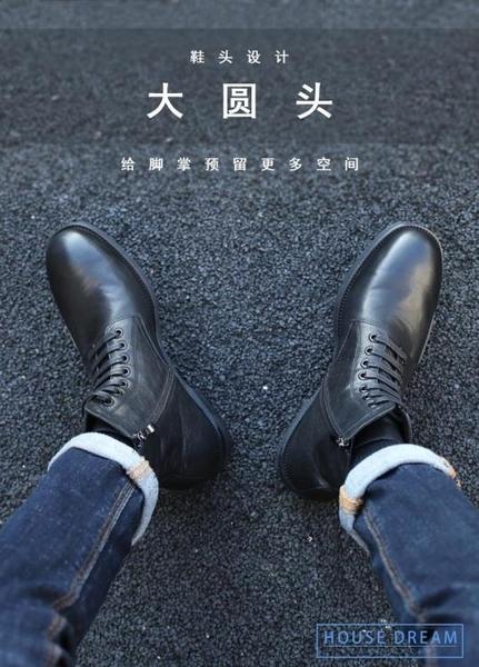 馬丁靴男 馬丁靴男高筒男士棉鞋中幫冬季皮靴真皮短靴加絨軟皮鞋黑色靴子男