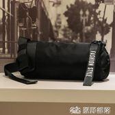 旅遊包 街頭嘻哈風男士小包原創時尚潮流單肩斜挎包小背包學生韓版圓桶包 原野部落