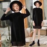 中大尺碼洋裝 針織小高領重工拼接網紗顯瘦長袖時尚 M-4XL #bl75108 ❤卡樂❤