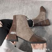 女英倫風馬丁靴春款百搭方頭粗跟短靴大碼裸靴前拉鏈瘦瘦靴 EY9350『棉花糖伊人』