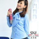 【S-44EF】森奈健-優雅成熟OL吸濕排汗領口綁帶長袖女襯衫(水藍色)