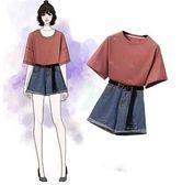 韓版學院風套裝XL-5XL大尺碼8712新款時尚亮片網紗T恤百搭牛仔短褲兩件套送腰帶F4096