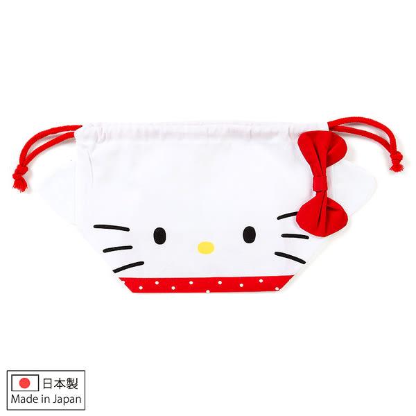 Hello Kitty便當袋 蝴蝶結大臉型日本製純綿立體束口袋/便當袋/收納袋 [喜愛屋]