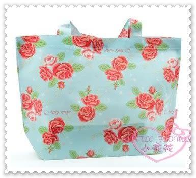 ♥小花花日本精品♥Hello Kitty 日本玫瑰購物手提袋防潑水外出袋滿版玫瑰花圖日本限定 42043706