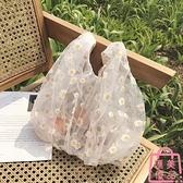 蕾絲透明購物袋水桶手提雛菊小花女包包單肩購物袋侧背【匯美優品】