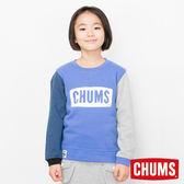CHUMS 日本 童 LOGO 圓領套頭衫 彩拼藍 CH201019C010