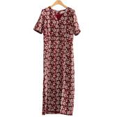 單一優惠價[H2O]交叉領五分袖直筒印花洋裝 - 紅底印花/藍底印花色 #0684007