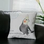 美式鄉村 花鳥棉麻沙發抱枕 辦公室靠墊套 BLW016