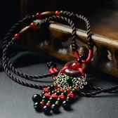 毛衣鍊 民族風瑪瑙-獨特木環生日母親節禮物女項鍊73hf12【時尚巴黎】