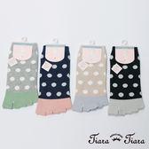 【Tiara Tiara】水玉點點露趾五指襪(深藍底/灰底/卡其底/黑底)