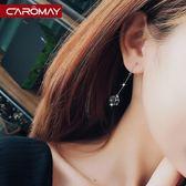簡約性感黑水晶耳勾耳環女百搭流蘇耳飾