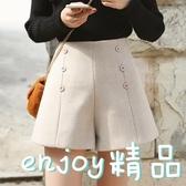韓版雙排扣高腰毛呢短褲學生寬鬆闊腿褲女式休閒褲子