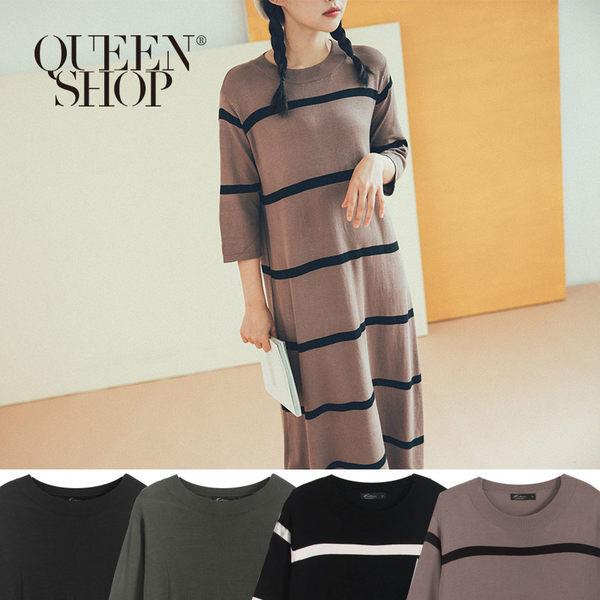 Queen Shop【01084745】小圓領素面長洋裝 四色售*現+預*