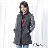 Victoria 毛呢異材質拼接長版外套-女-深灰直條