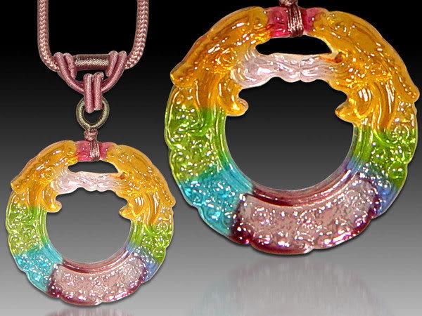 鹿港窯~居家開運水晶琉璃項鍊~雙龍◆附精美包裝◆免運費送到家
