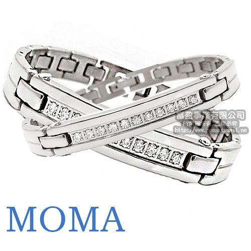MOMA-【IZUMI】系列純鈦鍺磁手鍊-IS-008 男女對鍊組