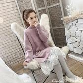 蕾絲洋裝針織打底連身裙女秋冬新款女裝潮蕾絲拜年裙子新品流行毛衣裙 限時特惠