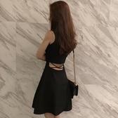 連身裙女夏2020新款夜場女裝性感時尚露腰心機裙子赫本小黑裙女潮