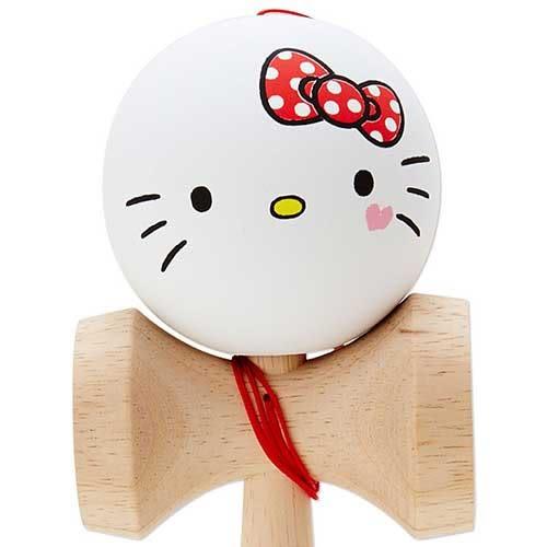 《Sanrio》HELLO KITTY可愛大臉木製劍玉球(手繪害羞愛心)_972550