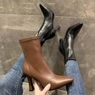韓版瘦瘦靴單靴氣質高跟2021秋冬新款尖頭粗跟短筒彈力靴潮女短靴 貝芙莉