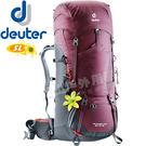 Deuter 4340218_紅 60+10SL 拔熱式透氣登山背包 Aircontact Lite健行包/雙肩後背包/自助旅行