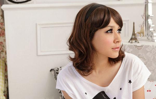 Qmishop 瀏海髮箍 輕鬆上手 斜瀏海假髮片髮箍【P016】新娘