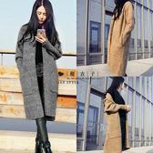 【QV1975】魔衣子-純色顯瘦毛衣開衫大衣外套