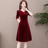 秋季新款貴夫人高端氣質金絲絨洋裝遮肚修身顯瘦氣質長裙子 雙十一全館免運