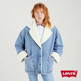 Levis 女款 復古長版毛領牛仔外套 / 氣質劍領設計 / 精工中藍染水洗 / 寒麻纖維