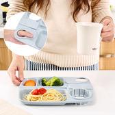 【麥香杯托餐盤】韓系北歐環保無毒小麥秸稈分格餐盤 學生餐具 快餐盤帶杯托