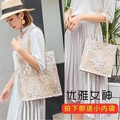 仙女包包女新款蕾絲手提購物袋復古夏天刺繡托特包單肩包 - 風尚3C