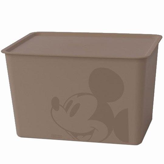 小禮堂 迪士尼 米奇 日製 方形塑膠拿蓋收納箱 玩具箱 衣物箱 17L (L 棕 大臉) 4904121-34343