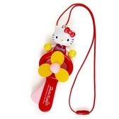 小禮堂 Hello Kitty 軟葉片手持電風扇 隨身風扇 手動風扇 附頸掛繩 (紅黃 啦啦隊) 4550337-41036