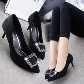 正韓尖頭女鞋細跟高跟鞋方扣水鉆中跟工作鞋絨面淺口單鞋