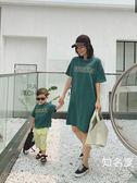親子裝 親子裝短袖t恤綠色母子裝寶寶寬鬆上衣夏季媽媽中長款T恤裙