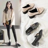 英倫風一腳蹬樂福鞋 小皮鞋女復古方頭增高中跟黑色粗跟單鞋 BF22306『寶貝兒童裝』