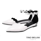 Tino Bellini 波浪藝術抽象圖紋尖楦坡跟平底鞋 _ 白 B83268