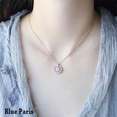 項鍊 韓版簡約圓環鋯石鑲鑽項鍊 鎖骨練+飾品盒【21591】《2色》Blue Paris 【防過敏】