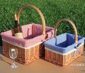 野餐籃新品藤柳編野餐籃 手提籃 購物籃 提籃 花籃 禮品包裝籃 水果籃子XW(一件免運)