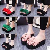 夏季女士時尚蝴蝶結厚底松糕沙灘涼鞋YYY601『毛菇小象』