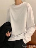 長袖T恤白色t恤2020韓版秋冬白t寬鬆長袖黑色打底衫百搭純色圓領上衣女潮 店長推薦