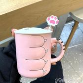 創意可愛貓咪陶瓷馬克杯帶蓋勺貓爪杯牛奶咖啡情侶學生水杯子 color shop
